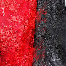 Load image into Gallery viewer, Exqusite Sequined Lace Fabric Shimmer Embroidery Floral  Lace Mesh for Bridal Dress Evening Gown 53 inches Width Sold by 1 Meter