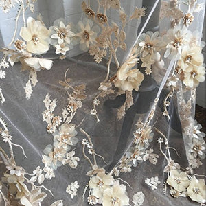 Exquisite Bridal Lace Fabric Sold by 1 Yard Rhinestone Beaded Lace Tulle 3D Flower Embroidery Wedding Lace for Gown,Dress 51 inches Width