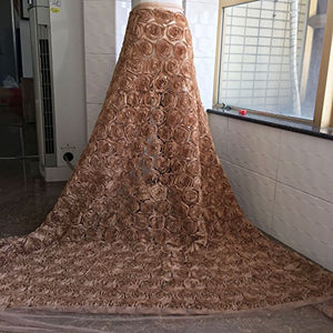 3D Rose Lace Fabric by the yard Shabby Chic Flower Lace Mesh Overlay for Mermaid Dress Train Prom Gown 51 inches Width