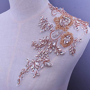 Bling Rhinestone Applique Crystal Beaded Patch for Prom Dress Evening Costumes