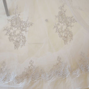 Ivory Beaded Lace Fabric Corded Embroidery  Sequined  Floral Lace Mesh for  Craft projects 51 inches Width Sold by 1 Yard