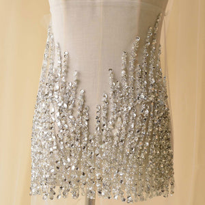Silver Rhinestone Applique Handmade Beaded Bodice Bling Accents for Bridal Gown Wedding Dress