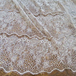Off-White Eyelash Lace Fabric Hollowed Lace Floral Lace Mesh Fabric by Yard for Dress Gown Costume Craft Making 59 inches Width