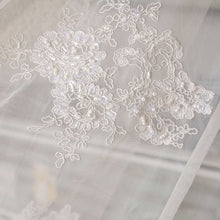 Load image into Gallery viewer, Ivory Beaded Lace Fabric Corded Embroidery  Sequined  Floral Lace Mesh for  Craft projects 51 inches Width Sold by 1 Yard