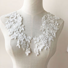 Load image into Gallery viewer, 1 Pair Off-White Beading Floral Patches Embroidery Applique for Bridal Dress Dance Costumes