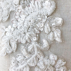 1 Pair Off-White Beading Floral Patches Embroidery Applique for Bridal Dress Dance Costumes