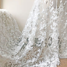 Load image into Gallery viewer, Stunning Blossom Lace Fabric  Embroidery 3D Flower Vines Lace Tulle for Wedding Dress