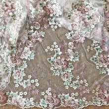 Load image into Gallery viewer, Vintage Blossom Fine Embroidery Lace Fabric by the yard for Evening Dress Prom Gown 51 inches Width