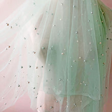 Load image into Gallery viewer, Beaded Lace Fabric Mint Color Lace Tulle Soft Lace by The Yard for Prom Dress,Evening Ballgown 63 inches Width
