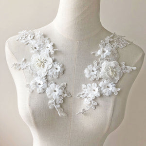 Ivory Lace Applique 3D Beading Lace Motif White Wedding Bridal Patches with Pearl Crystal Details Sew on Gown Dress