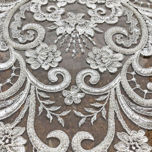 Stunning Beading lace Applique Embroidery Flower Lace Patch with Beads Sewing Appliques Off-White Lace Trims for Wedding Dress Bridal Ballgown