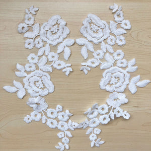 Off-White Cotton Lace Applique Trim Wedding Motif Bridal lace Applique Flower Patches for Gown Garter Sash Head Pieces Veil 2pcs