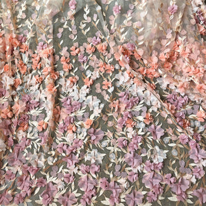 Stunning Blossom Lace Fabric  Embroidery 3D Flower Vines Lace Tulle for Wedding Dress