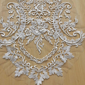 Vintage Floral Applique Patch Soft Cotton Embroidery Lace Applique Off-White Motif for Bridal Dress Wedding Gown