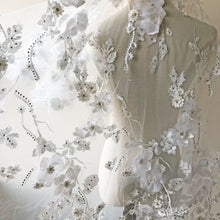 Load image into Gallery viewer, Exquisite Bridal Lace Fabric Sold by 1 Yard Rhinestone Beaded Lace Tulle 3D Flower Embroidery Wedding Lace for Gown,Dress 51 inches Width