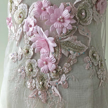 Load image into Gallery viewer, Exquisite Pink Flower Patch Embroidery Beaded Rhinestone Floral Lace Motif for Prom Dresses Dance Costumes