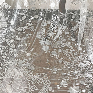 Exqusite Sequined Lace Fabric Shimmer Embroidery Floral  Lace Mesh for Bridal Dress Evening Gown 53 inches Width Sold by 1 Meter