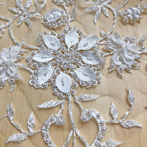 Luxury 3D Beading Flower Wedding Lace Motif Off-White Embossed lace Applique with Pearl Details Flower Patch for Bridal Dresses Evening Gown