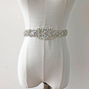 17 inches Bridal Sash Belt Applique Rhinestone Crystal Pearl Patches Trims