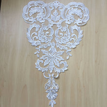 Load image into Gallery viewer, Venice Lace Applique Fine Embroidery Off-White Flower Sewing Patch for Wedding Gown