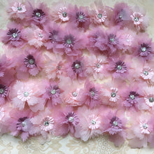 Load image into Gallery viewer, Delicate Chiffon Flower Lace Applique Crystal Blossom Patch Sewing Trims DIY Addition for Bridal Veil Headband Craft Projects 20 Pieces Included