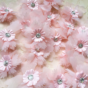 Delicate Chiffon Flower Lace Applique Crystal Blossom Patch Sewing Trims DIY Addition for Bridal Veil Headband Craft Projects 20 Pieces Included