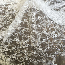 Load image into Gallery viewer, Sparkly Sequined Embroideried Flower Lace Fabric Off -White Lace for Party Dress Dance Costume 47 inches Width