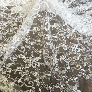 Sparkly Sequined Embroideried Flower Lace Fabric Off -White Lace for Party Dress Dance Costume 47 inches Width
