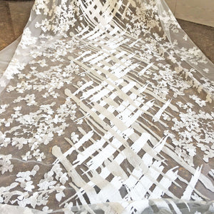 Off-White Wedding Lace Tulle Embroidery Lace Mesh Fabric  Floral Lace Mesh 51 inches Width Sold by 1 yard