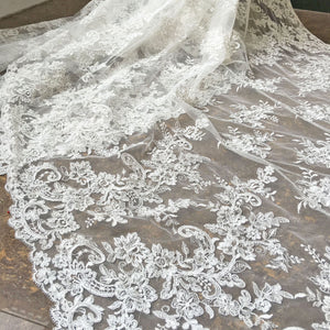 Off-White Lace Tulle Corded Embroideried Floral Lace Fabric Both Scalloped Edge Lace for Bridal Dress Gown 47 inches Width Sold by 1yard
