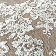 Load image into Gallery viewer, Off-White Lace Tulle Corded Embroideried Floral Lace Fabric Both Scalloped Edge Lace for Bridal Dress Gown 47 inches Width Sold by 1yard