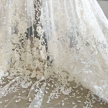 Load image into Gallery viewer, Shimmery Sequined Lace Fabric by 1 meter Embroidery Lace Tulle  Exquisite Flower  Lace for Wedding Dress Ballgown 55 inches Width