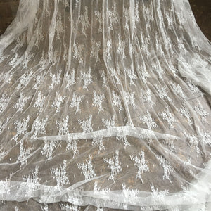 Vintage Floral Stretch Lace Mesh Fabric Embroidery lace Gauze 51 inches Wide for Wedding Dress, Veil, Costume, Craft Making