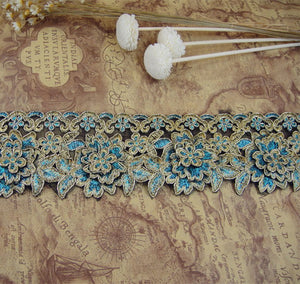 Antique  Lace Trim by the yard Gold Corded Embroidery Lace Ribbon Sewing lace Edging Fringe for Craft Project