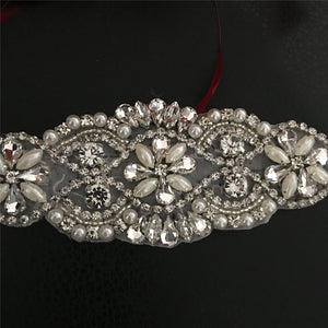 Bling Bling Rhinestone Applique  Crystal Pearl Appliques Accent for Wedding Sash Belt