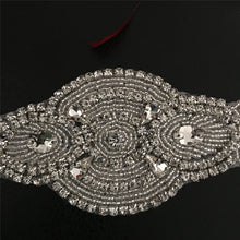 Load image into Gallery viewer, Rhinestone Bridal Sash Applique Wedding Belt Addition Iron on Crystal Patch