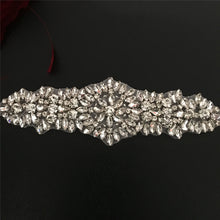 Load image into Gallery viewer, Crystal Sash Ribbon Applique Hot Fixed Rhinestone Appliques Patch Bling for Wedding Sash