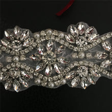 Load image into Gallery viewer, Rhinestone Sash Belt Applique Hox Fixed Bling Crystal Pearl Stone Motif