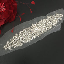 Load image into Gallery viewer, Crystal Beads Appliques Stitch Rhinestone Sashes Belt Applique