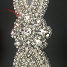Load image into Gallery viewer, Rhinestones Applique Iron on Crystal Belt with Pearl Details Shiny Addition