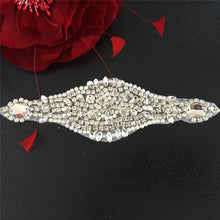 Load image into Gallery viewer, Shine Crystal Pearl Applique Patches Hot Fixed Rhinestone Appliques Dress Centerpiece Ornament