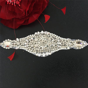 Shine Crystal Pearl Applique Patches Hot Fixed Rhinestone Appliques Dress Centerpiece Ornament