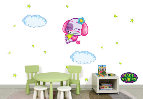 Wallabee Jade Stars Large Fabric Wall Decal - Dog (Girl version)