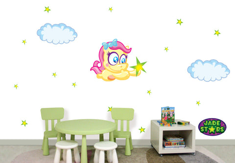 Wallabee Jade Stars Large Fabric Wall Decal - Horse (Girl version)