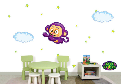 Wallabee Jade Stars Large Fabric Wall Decal - Monkey (Boy version)