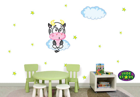 Wallabee Jade Stars Large Fabric Wall Decal - Ox (Boy version)