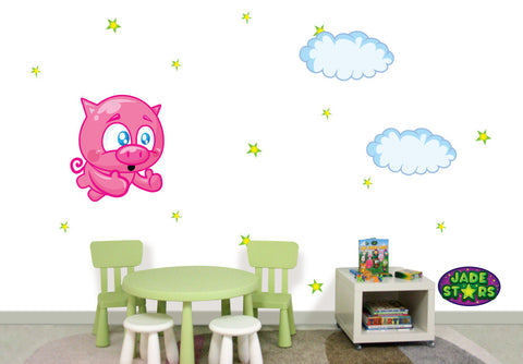 Wallabee Jade Stars Large Fabric Wall Decal - Pig (Boy version)