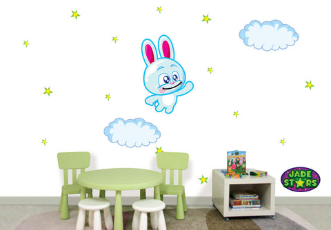 Wallabee Jade Stars Large Fabric Wall Decal - Rabbit (Boy version)