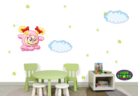 Wallabee Jade Stars Large Fabric Wall Decal - Ram (Girl version)