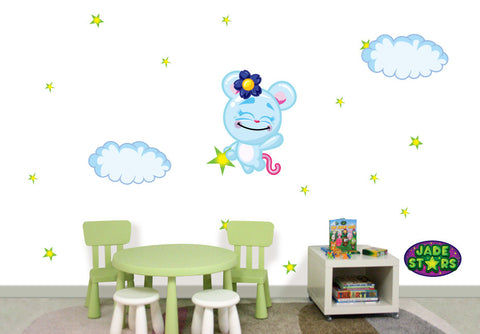 Wallabee Jade Stars Large Fabric Wall Decal - Rat (Girl version)